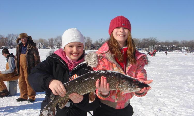 Frozen Lake Ice Fishing